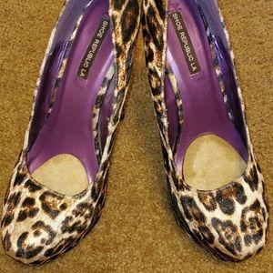 4.5 inch Cheetah Print Suede High Heels